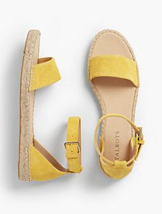 Ivy Ankle-Strap Espadrille Flats - Silk Suede
