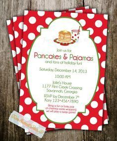 Pancakes and Pajamas Invitation Christmas Holiday by 2SweetTeas, $16.00 Love this idea... either for kids or adults! #holidays #breakfast #brunch