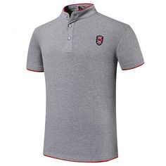 b3ce137a 7 Colors Mens Embroidery Solid Color Stand Collar Button Summer Plus Size T-shirt  Polo Shirt - Hot Pink Polos Shirts