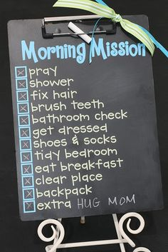 Cute idea to help kids with their morning routine. I currently have papers taped to a wall, so this would be a step up.