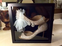 What a great idea placing your wedding shoes in a shadow box! - I'm definitely doing this if I decide to buy wedding shoes. Post Wedding, Fall Wedding, Dream Wedding, Wedding Stuff, Wedding Wishes, Wedding Bells, Wedding Keepsakes, Wedding Shadowbox, Wedding Memorial
