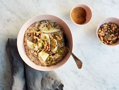This oatmeal bowl has all the great flavors of banana bread but comes together in about five minutes. Plus, the nuts and seeds (rich in antioxidants and Vitamin B) will do wonders for your skin …