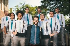 Navy suit, gingham shirt, slim tie, and vans: advice for grooms on how to find their style