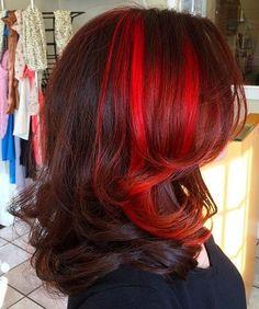 Mahogany Hair With Bright Red Balayage