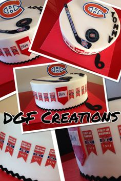 Montreal Canadian Birthday cake, everything is edible on this cake,  with winning years of the Stanley cup all around the cake.  GO HABS GO!