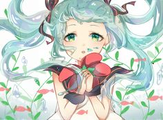 Hatsune miku, bubble water, seaweed, fish, kawaii