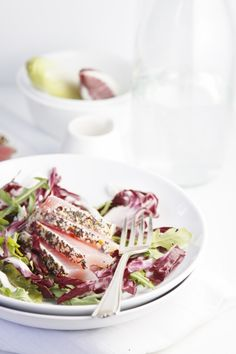 Sesame Seared Ahi Tuna over Endive & Arugula Salad | bellalimento.com