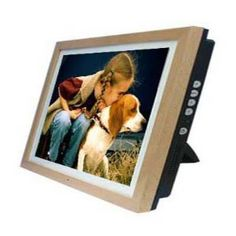 """12"""" Digital Photo Frame with Natural Wood Frame +1Gb memory"""