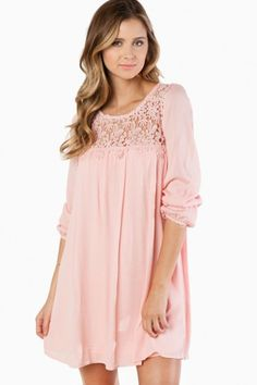 Cute pink lined shift dress with a floral crochet yoke