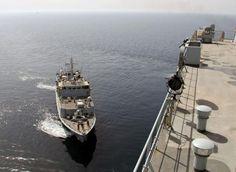 HMS Bangor coming alongside RFA Lyme Bay. Photo: Royal Navy