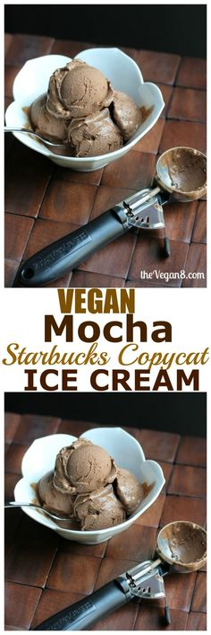 Substitute almond butter for the cashews - Vegan Mocha Ice Cream (Starbucks Copycat). Dairy-free, vegan, oil-free ice cream that combines chocolate and espresso. Made with cashews. Healthy Vegan Dessert, Vegan Treats, Vegan Foods, Vegan Dishes, Vegan Desserts, Dessert Recipes, Coctails Recipes, Paleo Diet, Dairy Free Ice Cream