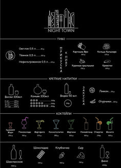 Ai, создание иконок, логотипа и меню несуществующего ночного бара.