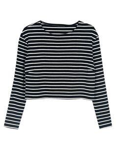 Choies Design Black Stripe Crop Top With Long Sleeves