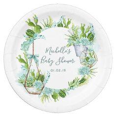 Watercolor Desert Cactus Succulents Baby Shower Paper Plate - watercolor gifts style unique ideas diy