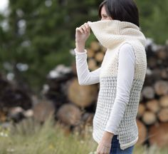 Hello friends! I've been wanting to design something like this crocheted cowl vest since last year when I saw a similar sweater in a store front during my visit to New York City. It looked like the coziest, most comfortable thing to wear in the winter. What I love most about this vest is the large cowl neck that's super simple to create and adds a lot of warmth and coziness. It's also super easy to make since it's essentially two rectangles that are seamed and the turtlenec...