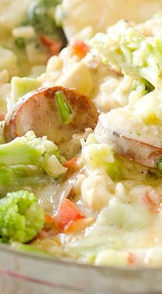 Light Cheesy Chicken, Sausage & Rice Casserole