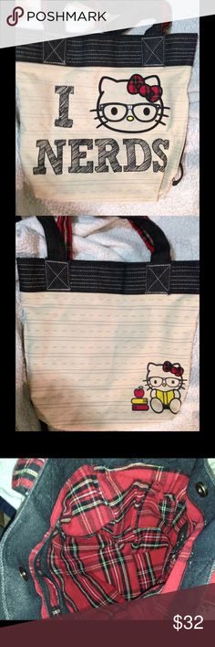 Hello Kitty I Love Nerds Tote Bag EUC. Just a few spots from normal use from a few times. Measures 16 x 14 x 12 inches. Really cute book or tote bag. Hello Kitty on front and back sides. Sanrio Hello Kitty Bags Totes