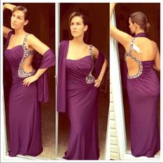 Nwt Eggplant Purple Embellished Gown And Shawl