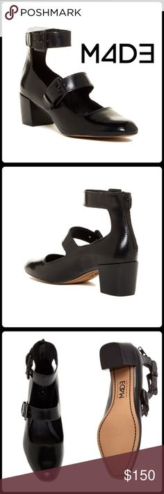 """NOW IN! CELINE BLOCK HEEL PUMP Wide buckle straps add a bold vintage element to a burnished leather pump set on a sleek block heel. ◽️2"""" block heel ◽️Square toe ◽️4 1/2"""" ankle strap height ◽️Back zip closure  ◽️Adjustable buckle straps ◽️Leather upper and lining ◽️Lightly padded footbed ◽️Rubber sole ◽️NWOB-Tried on never worn ◽️Sizing: Runs small; order next size up  Closet Guidelines ^ Bundle Discount ^ No Trades ^ Make Offers Thur Offer Button ^ Have a question? Please Ask! M4D3 Shoes…"""