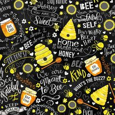 What's the Buzz Busy Bee's Chalk Words Fabric by Gail Cadden - Timeless Treasures Cotton Quilts, Cotton Fabric, Bee Icon, Bee Fabric, Timeless Treasures Fabric, Cute Bee, You Are My Sunshine, Hello Sunshine, Shades Of White