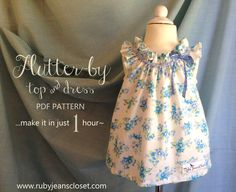 Flutter-By Top & Dress Pattern PDF Sewing by RubyJeansCloset