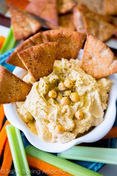 Homemade Hummus with Crunchy Spiced Pita Chips. This is my favorite (super simple) homemade hummus recipe, you will make it time and time again @Sally [Sally's Baking Addiction]