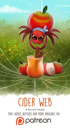 Day Cider Web by Cryptid-Creations on DeviantArt Cute Animal Drawings, Kawaii Drawings, Cute Drawings, Cute Creatures, Mythical Creatures, Animal Puns, Animal Food, Leprechaun, Cute Cartoon