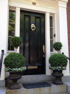 56 Best Ideas For Exterior House Entrance Entryway Black Doors Front Porch Planters, Front Door Porch, Front Door Entrance, House Front Door, Entrance Decor, Front Door Colors, House Doors, House With Porch, Front Entrances