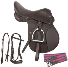 Up for sale is a brand new all purpose ENGLISH SADDLE. It comes complete with stirrups and bridle. This is a beautiful hand made saddle made only with high quality leather. The seat is made up of extra soft glove leather which is very comfortable. In this deal you will receive Heavy duty stirrups with rubber on them. It comes complete with every thing you need to get started. You will not find another deal like this.   ONLY $199.99
