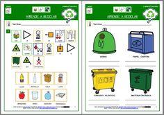 MATERIALES - Aprende a reciclar.    Actividad para aprender a reciclar los objetos cotidianos con los contenedores correspondientes.     http://arasaac.org/materiales.php?id_material=603