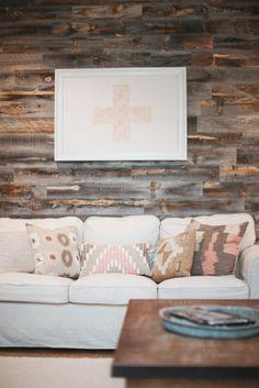 rustic modern, wood planked wall, swiss cross, plus sign, west elm, tribal pillow //loveisabigdeal.com