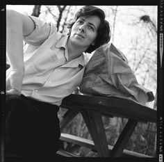One of a few portraits of Vivian Maier in which she can be seen smiling. Vivian Maier, 1961 © Vivian Maier/Maloof Collection