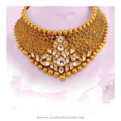 Gold Kundan Necklace from AVR Swarnamahal Jewelry