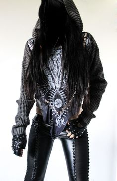 Image of TOXIC VISION Vessel leather hoodie