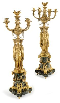 *A pair of Louis XVI ormolu and green marble six-light candelabra, attributed to Pierre-Philippe Thomire circa 1785-90