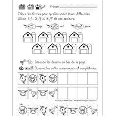 Fichier PDF téléchargeable En noir et blanc seulement 1 page Dans cet exercice, l'élève doit colorier les 8 fermes pour qu'elles soient toutes différentes en utilisant une ou plusieurs des couleurs données. Il doit également compléter les suites logiques en découpant les dessins au bas de la page et en les plaçant au bon endroit.