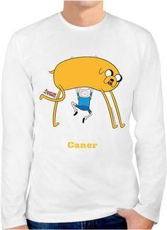 Adventure Time - Jake ve Finn Kendin Tasarla - Erkek Bisiklet Yaka Tişört Uzun Kollu