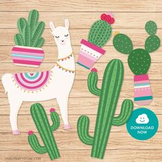 Llama cake topper with cactus. Pink and green llama and cactus toppers. Printable PDF file with multiple designs - Baby party ideens Alpacas, Cactus Wallpaper, Bunny Ear Cactus, Cactus Cake, Cactus Cactus, Cactus Tattoo, Llama Birthday, Spring Party, Party Stores