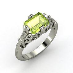 Emerald-Cut Peridot Sterling Silver Ring | Acadia Ring | Gemvara