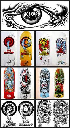 When I was in the grade, this is what I was all about. (SC Rob Roskopp evolution by Jim Phillips) Old School Skateboards, Vintage Skateboards, Skateboard Deck Art, Skateboard Design, Skate And Destroy, Skate Art, Skate Decks, Airwalk, Hand Art