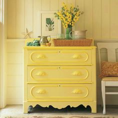 "By itself the citron yellow on this Victorian chest seemed pallid. But a rich honeyed drawer trim -- not an obvious choice -- galvanized it. ""The greater the chance you take with yellows"" says Stephen Earle ""the greater the reward."" - May 12 2019 at Yellow Room, Decor, Furniture, Rustic Furniture, Furniture Makeover, Furniture Projects, Home Furniture, Painted Furniture, Home Decor"