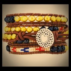 Leather wrap bracelet.  Brand new. 5 Row Dyed Black Gold Colored Freshwater Cultured Pearl Wrap Leather Bracelet.  Gorgeous colors! Mandala Jewelry Bracelets