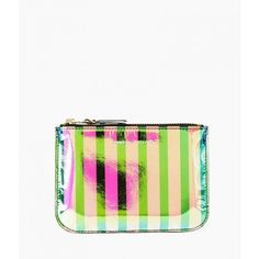 Comme des Garcons Tiny Coin Pouch Crazy Stripe (590 BRL) ❤ liked on Polyvore featuring bags, wallets, crazy stripe, leather coin pouch, coin change purse, leather wallet, leather zipper wallet and zipper pouch