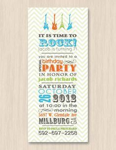 ROCK GUITAR Boy Birthday Printable Invitation by PrintasticDesign