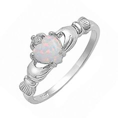 Irish Claddagh 925 Sterling Silver 0.75 Carat Created Fiery white Opal CZ accent Promise Wedding Engagement Anniversary Fidelity Ring Love G