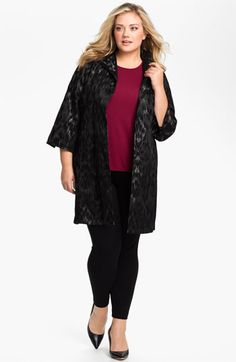 75ccbe5990 Eileen Fisher Open Front Three Quarter Sleeve Coat (Plus)