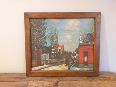 "MAURICE UTRILLO Print on Canvas Wall Hanging French Framed Maurice V Utrillo print, ""MONTMARTRE"" Paris Street Scene Framed by SweetBraceDesign on Etsy"