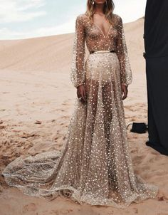 Dress: nude wedding boho chic belted see through transparent embellished princess