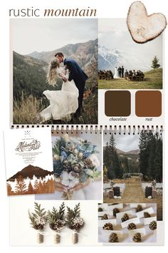 Getting married? Wedding Color Schemes, Wedding Colors, Wedding Themes, Mood Boards, Getting Married, Wedding Inspiration, Mountain, Rustic, Party