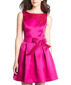 Another great find on #zulily! Isaac Mizrahi New York Fuschia Pleated Bow Dress - Women by Isaac Mizrahi New York
